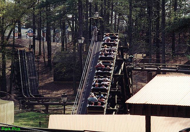 The Dahlonega Mine Train's first two lift hills